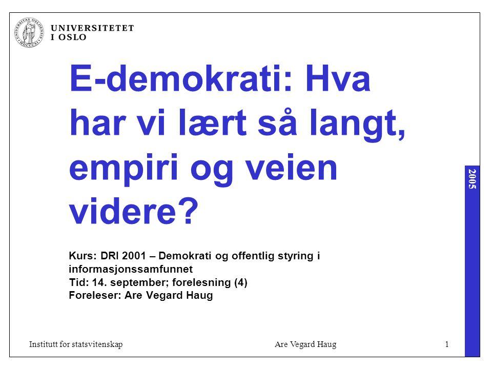 2005 Are Vegard Haug1Institutt for statsvitenskap E-demokrati: Hva har vi lært så langt, empiri og veien videre? Kurs: DRI 2001 – Demokrati og offentl