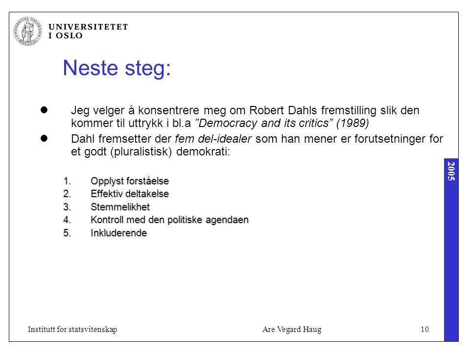 2005 Are Vegard Haug10Institutt for statsvitenskap Neste steg: Jeg velger å konsentrere meg om Robert Dahls fremstilling slik den kommer til uttrykk i