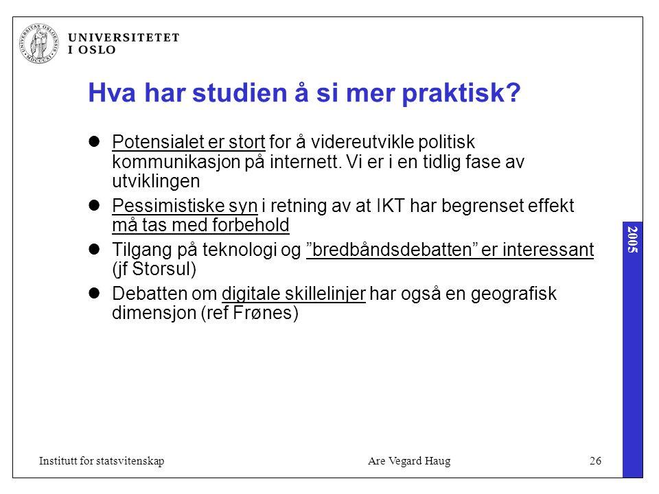 2005 Are Vegard Haug26Institutt for statsvitenskap Hva har studien å si mer praktisk? Potensialet er stort for å videreutvikle politisk kommunikasjon
