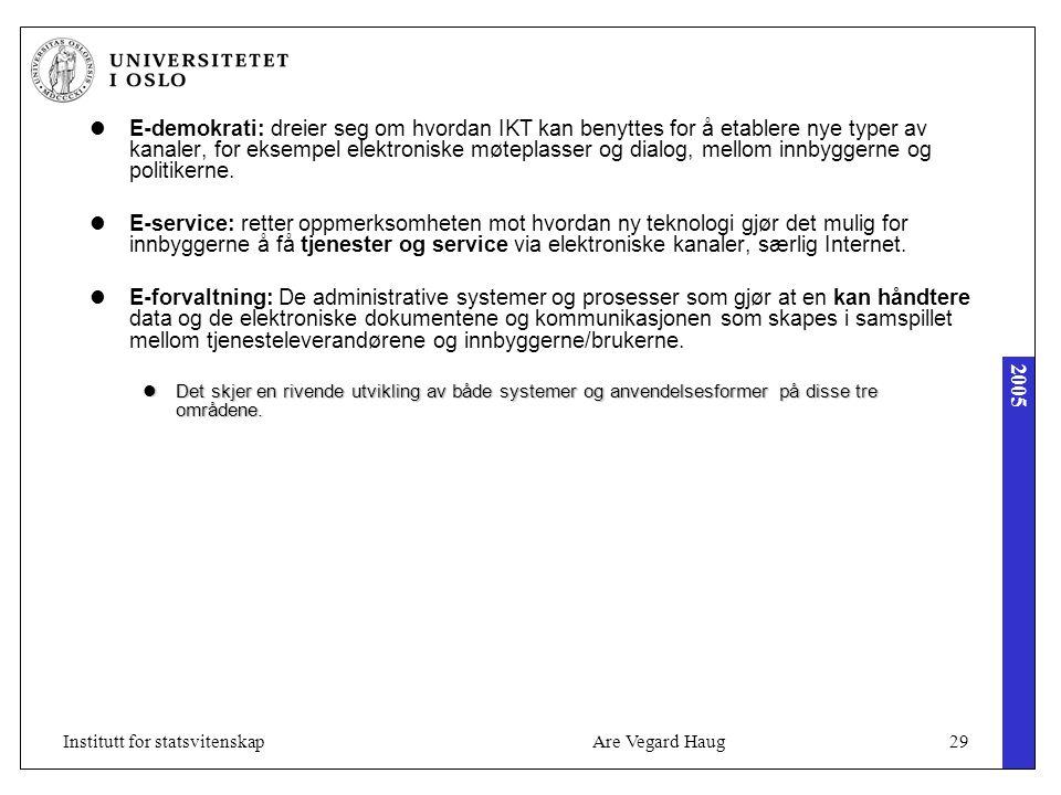 2005 Are Vegard Haug29Institutt for statsvitenskap E-demokrati: dreier seg om hvordan IKT kan benyttes for å etablere nye typer av kanaler, for eksemp