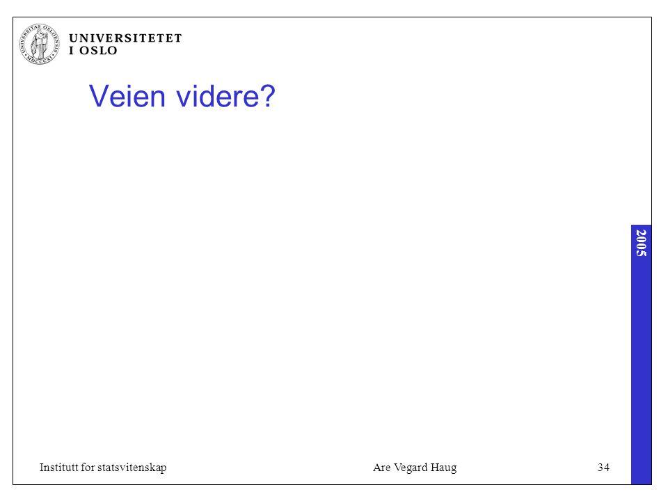 2005 Are Vegard Haug34Institutt for statsvitenskap Veien videre?