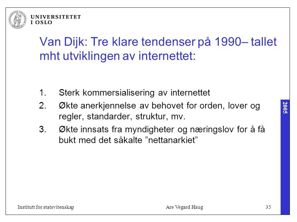 2005 Are Vegard Haug35Institutt for statsvitenskap Van Dijk: Tre klare tendenser på 1990– tallet mht utviklingen av internettet: 1.Sterk kommersialise