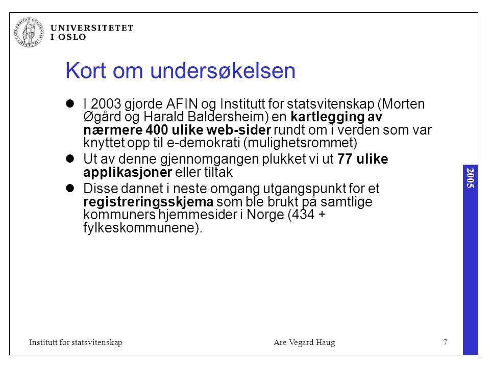 2005 Are Vegard Haug28Institutt for statsvitenskap Innbyggere, næringsliv, sivile samfunn e-service/e-tjenester e-demokrati e-forvaltning AdministrasjonPolitikere