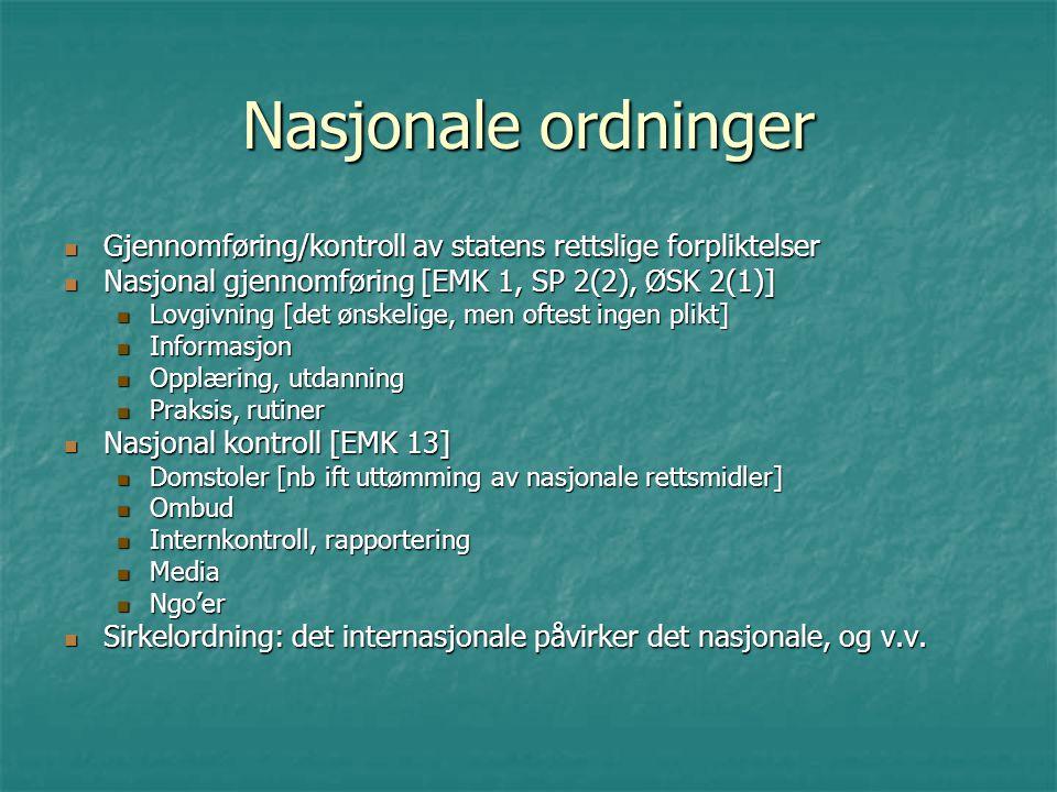 Nasjonale ordninger Gjennomføring/kontroll av statens rettslige forpliktelser Gjennomføring/kontroll av statens rettslige forpliktelser Nasjonal gjenn