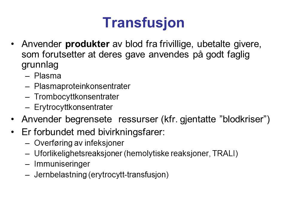 Transfusjon Anvender produkter av blod fra frivillige, ubetalte givere, som forutsetter at deres gave anvendes på godt faglig grunnlag –Plasma –Plasma