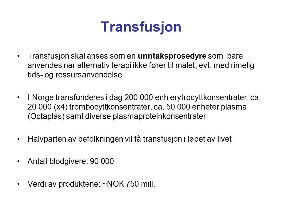 Transfusjon Transfusjon skal anses som en unntaksprosedyre som bare anvendes når alternativ terapi ikke fører til målet, evt. med rimelig tids- og res