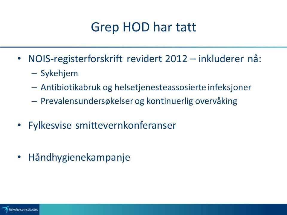 Grep HOD har tatt NOIS-registerforskrift revidert 2012 – inkluderer nå: – Sykehjem – Antibiotikabruk og helsetjenesteassosierte infeksjoner – Prevalensundersøkelser og kontinuerlig overvåking Fylkesvise smittevernkonferanser Håndhygienekampanje