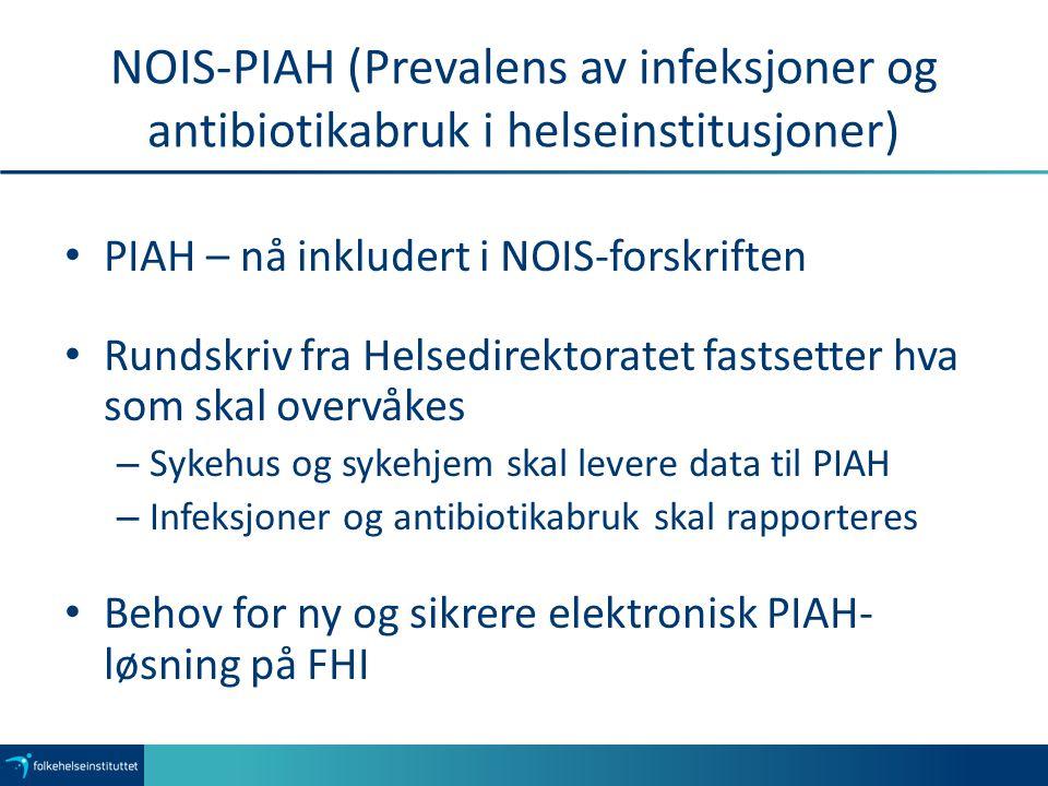 NOIS-PIAH (Prevalens av infeksjoner og antibiotikabruk i helseinstitusjoner) PIAH – nå inkludert i NOIS-forskriften Rundskriv fra Helsedirektoratet fastsetter hva som skal overvåkes – Sykehus og sykehjem skal levere data til PIAH – Infeksjoner og antibiotikabruk skal rapporteres Behov for ny og sikrere elektronisk PIAH- løsning på FHI
