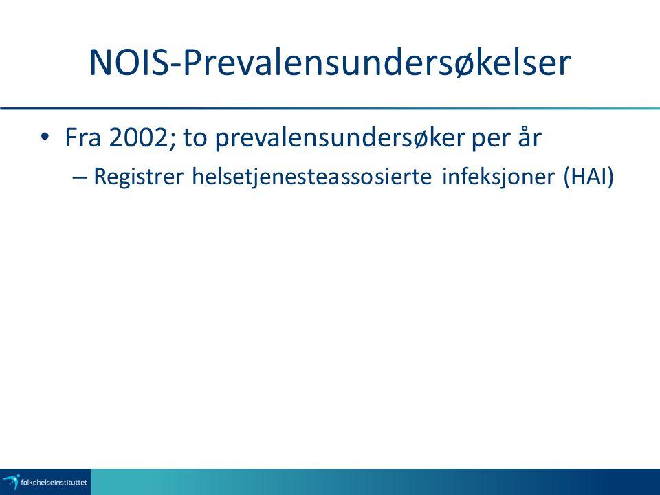 NOIS-Prevalensundersøkelser Fra 2002; to prevalensundersøker per år – Registrer helsetjenesteassosierte infeksjoner (HAI)