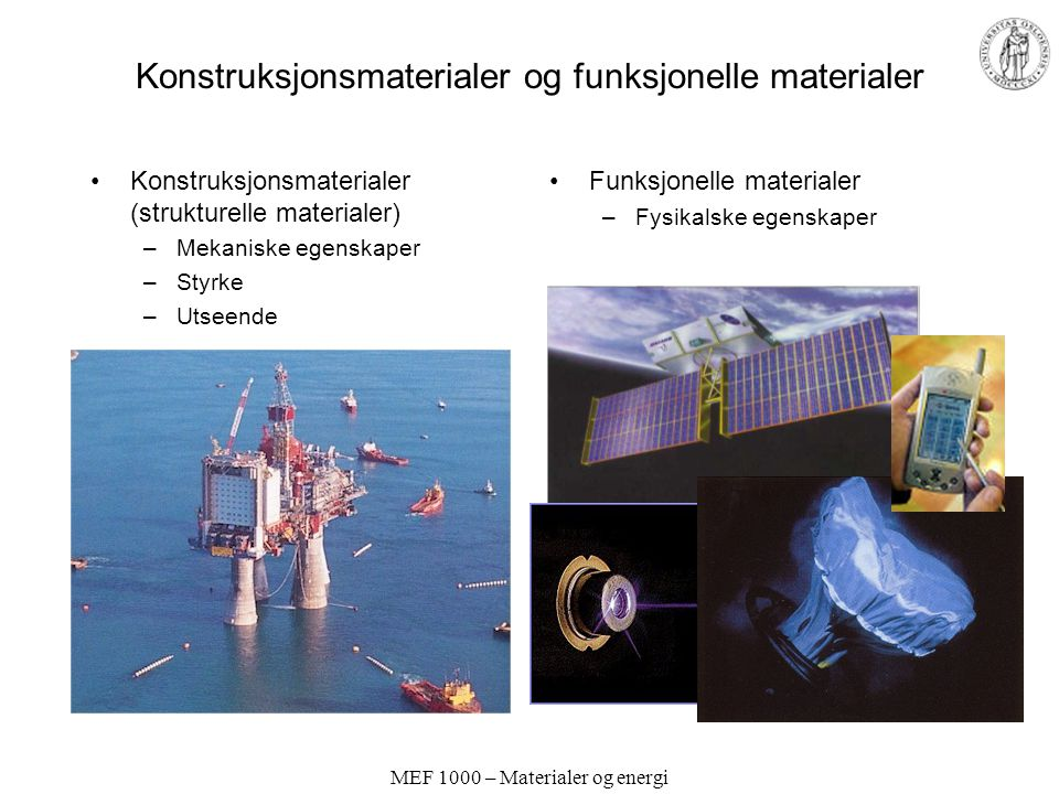 MEF 1000 – Materialer og energi Konstruksjonsmaterialer og funksjonelle materialer Konstruksjonsmaterialer (strukturelle materialer) –Mekaniske egensk
