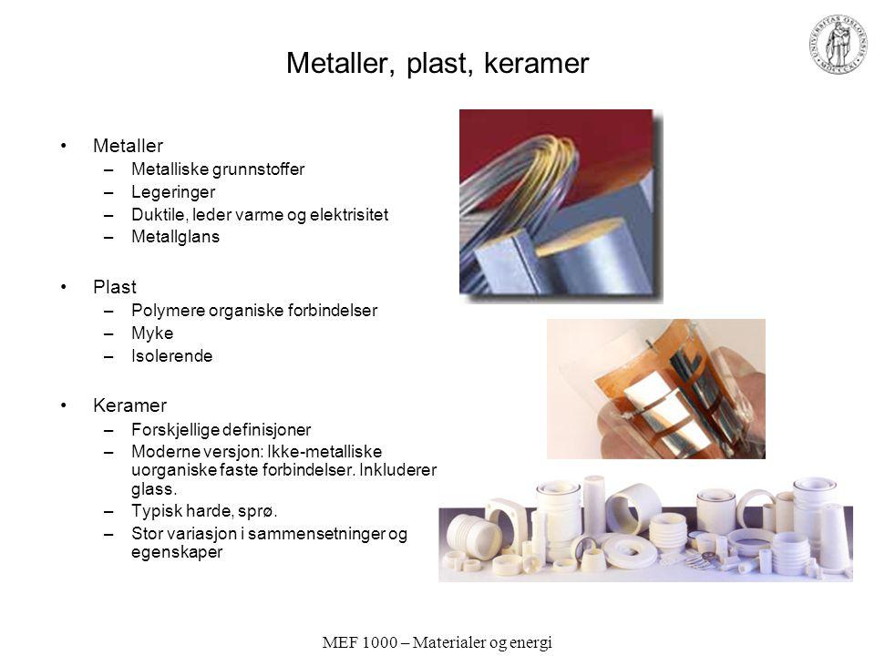 MEF 1000 – Materialer og energi Metaller, plast, keramer Metaller –Metalliske grunnstoffer –Legeringer –Duktile, leder varme og elektrisitet –Metallgl