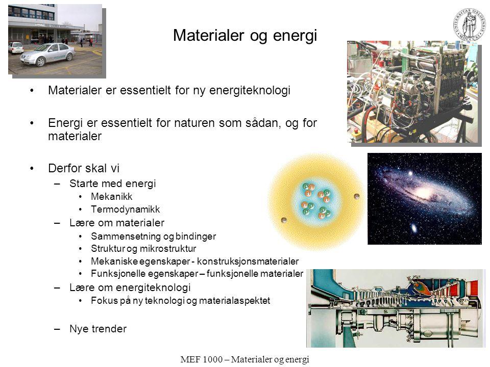 MEF 1000 – Materialer og energi Materialer og energi Materialer er essentielt for ny energiteknologi Energi er essentielt for naturen som sådan, og fo