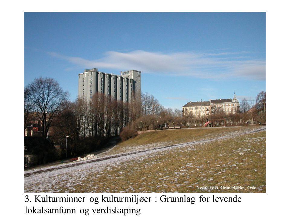 3. Kulturminner og kulturmiljøer : Grunnlag for levende lokalsamfunn og verdiskaping Nedre Foss, Grünerløkka, Oslo
