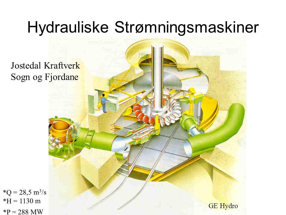 Hydrauliske Strømningsmaskiner GE Hydro Jostedal Kraftverk Sogn og Fjordane *Q = 28,5 m 3 /s *H = 1130 m *P = 288 MW