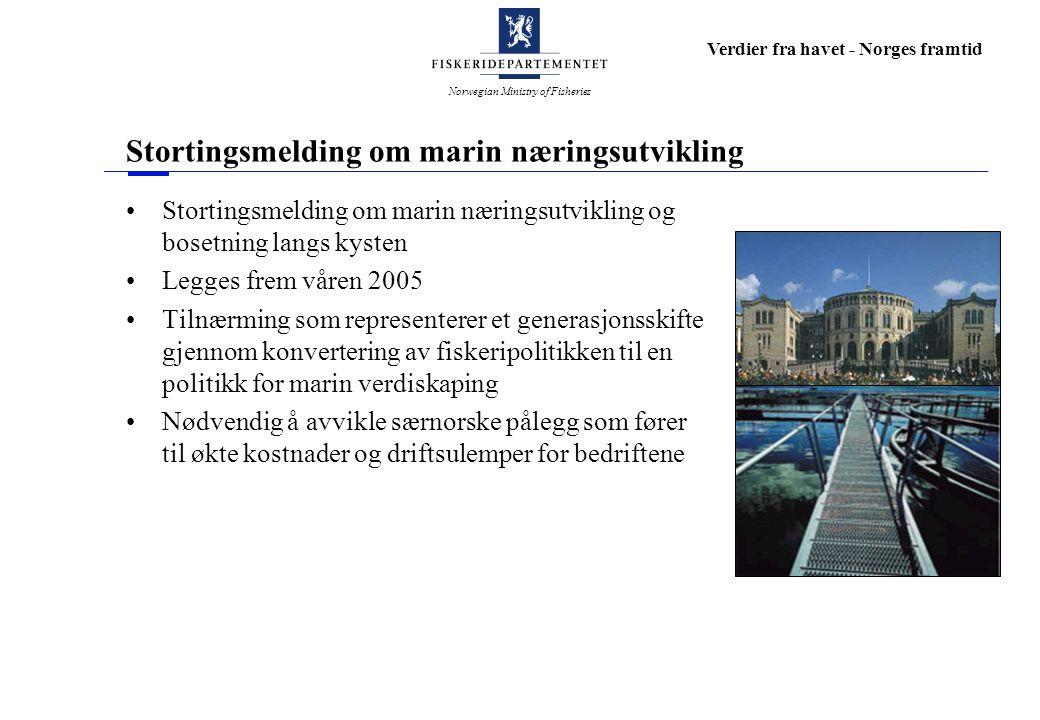 Norwegian Ministry of Fisheries Verdier fra havet - Norges framtid Stortingsmelding om marin næringsutvikling Stortingsmelding om marin næringsutvikli