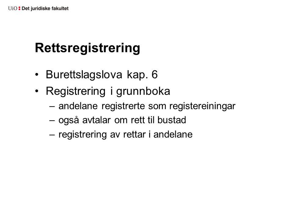 Pantsetjing av burettslagsandel Pantelova § 4-3 a Rettsvern ved tinglysing i grunnboka