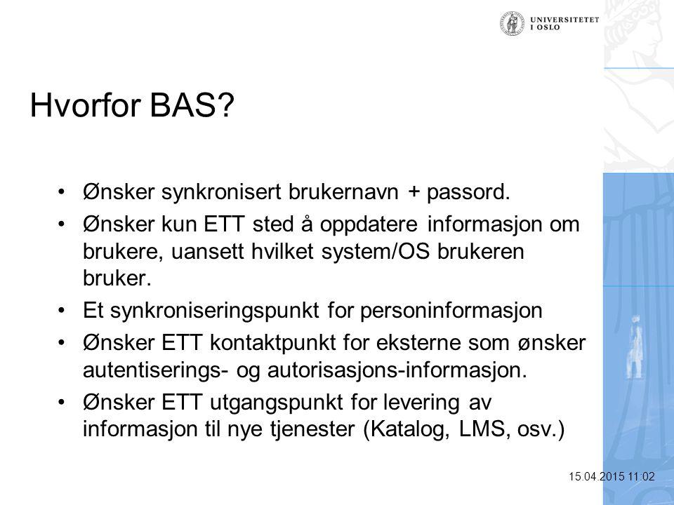 15.04.2015 11:03 Hvorfor BAS? Ønsker synkronisert brukernavn + passord. Ønsker kun ETT sted å oppdatere informasjon om brukere, uansett hvilket system