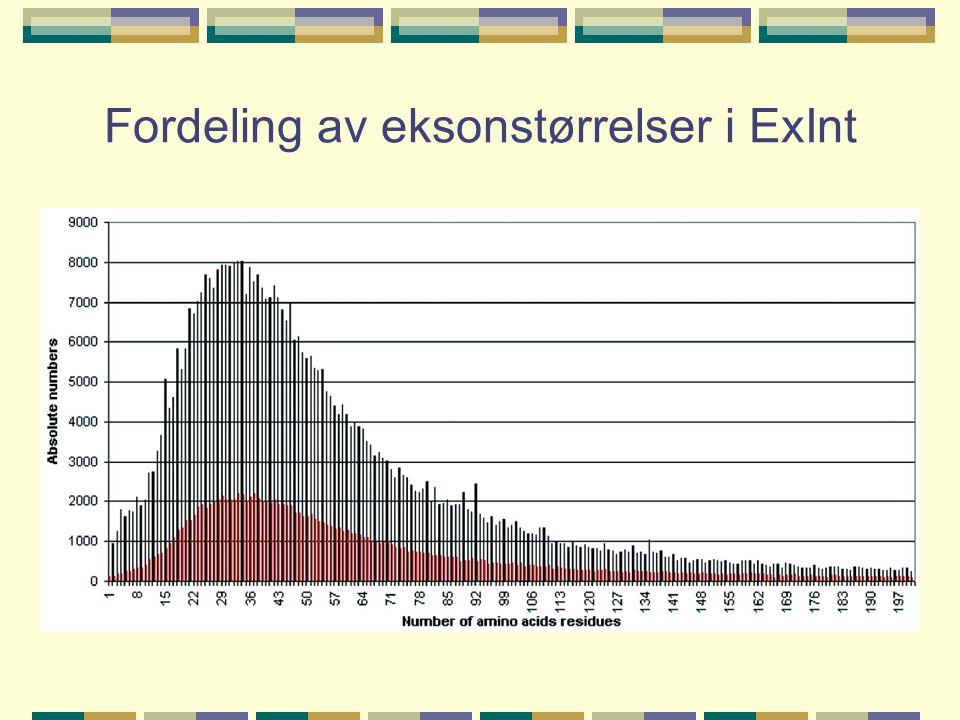 Fordeling av eksonstørrelser i ExInt