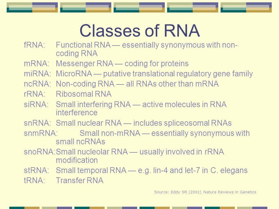 Classes of RNA fRNA:Functional RNA — essentially synonymous with non- coding RNA mRNA:Messenger RNA — coding for proteins miRNA:MicroRNA — putative tr