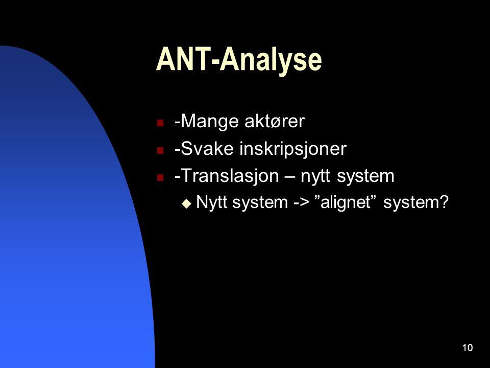 10 ANT-Analyse -Mange aktører -Svake inskripsjoner -Translasjon – nytt system  Nytt system -> alignet system