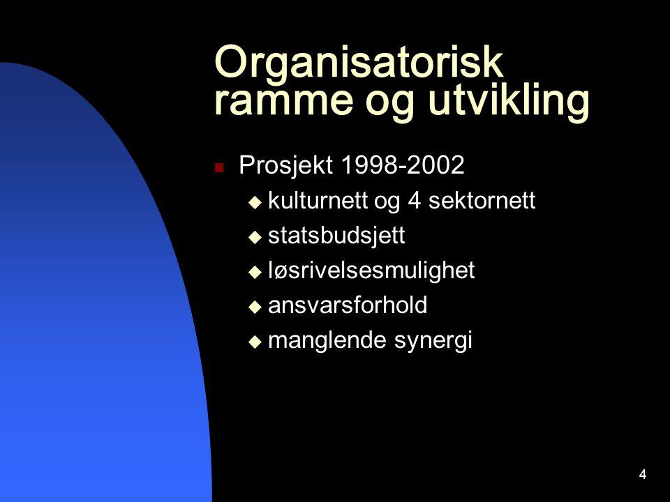 4 Organisatorisk ramme og utvikling Prosjekt 1998-2002  kulturnett og 4 sektornett  statsbudsjett  løsrivelsesmulighet  ansvarsforhold  manglende synergi