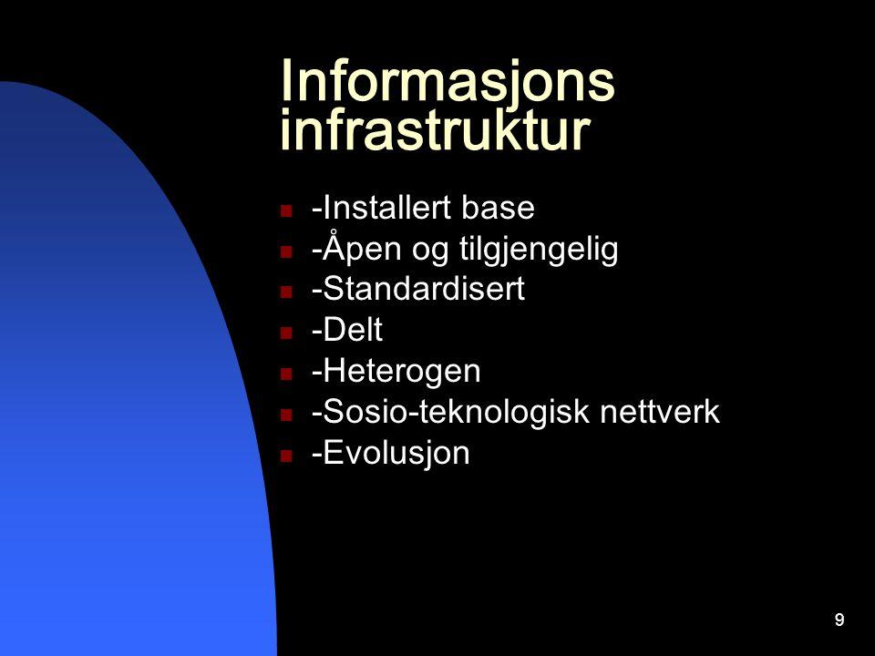 9 Informasjons infrastruktur -Installert base -Åpen og tilgjengelig -Standardisert -Delt -Heterogen -Sosio-teknologisk nettverk -Evolusjon