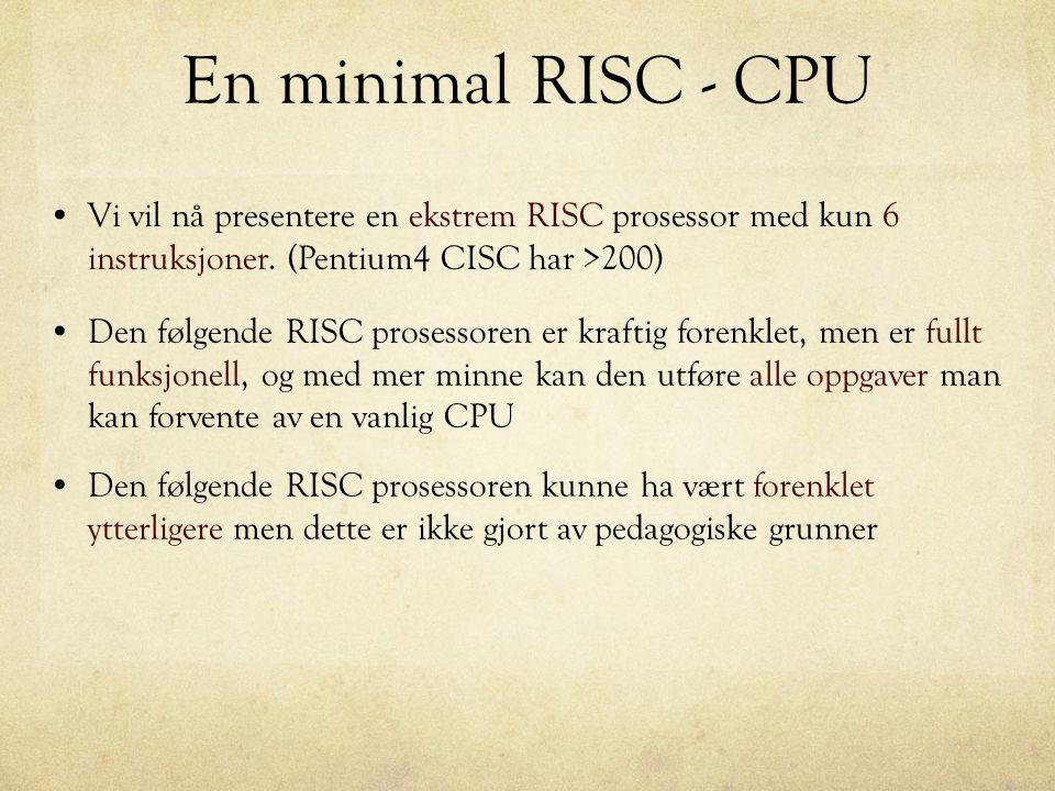 En minimal RISC - CPU Den følgende RISC prosessoren er kraftig forenklet, men er fullt funksjonell, og med mer minne kan den utføre alle oppgaver man