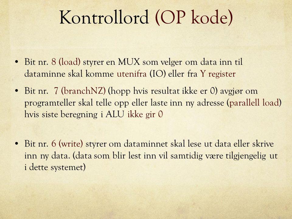 Kontrollord (OP kode) Bit nr. 8 (load) styrer en MUX som velger om data inn til dataminne skal komme utenifra (IO) eller fra Y register Bit nr. 7 (bra