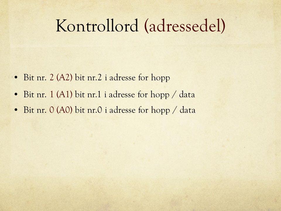 Kontrollord (adressedel) Bit nr. 2 (A2) bit nr.2 i adresse for hopp Bit nr. 1 (A1) bit nr.1 i adresse for hopp / data Bit nr. 0 (A0) bit nr.0 i adress