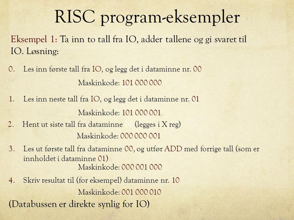 RISC program-eksempler Eksempel 1: Ta inn to tall fra IO, adder tallene og gi svaret til IO. Løsning: 0.Les inn første tall fra IO, og legg det i data