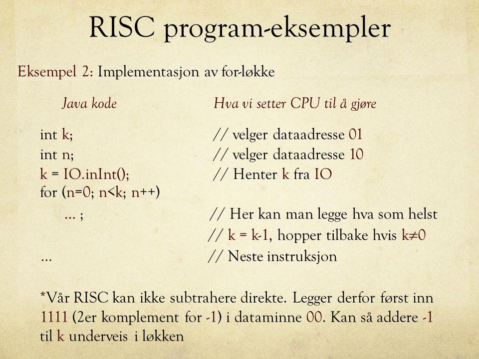 RISC program-eksempler Eksempel 2: Implementasjon av for-løkke k = IO.inInt();// Henter k fra IO for (n=0; n<k; n++) int k;// velger dataadresse 01 in