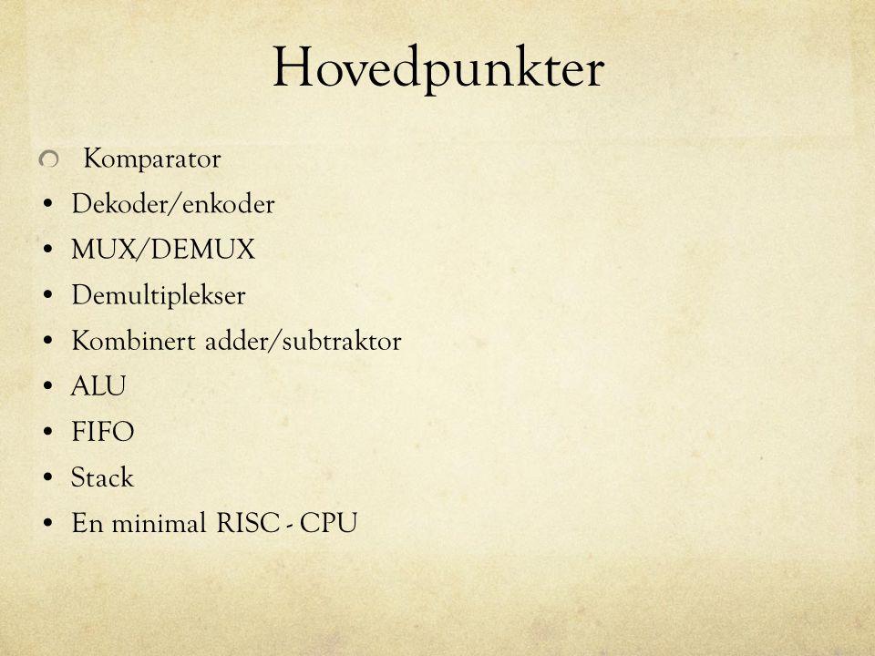 Hovedpunkter Komparator Dekoder/enkoder MUX/DEMUX Demultiplekser Kombinert adder/subtraktor FIFO Stack ALU En minimal RISC - CPU
