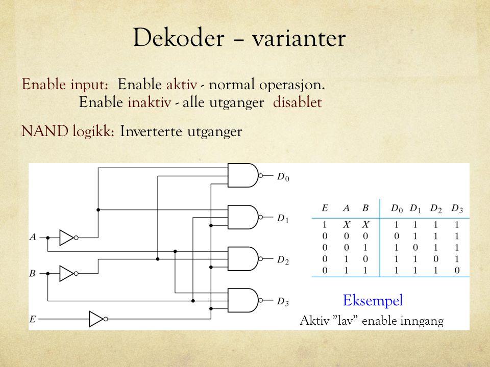 Dekoder - parallellkobling Eksempel: Lager en 4x16 dekoder fra 2stk 3x8 dekodere med enable innganger