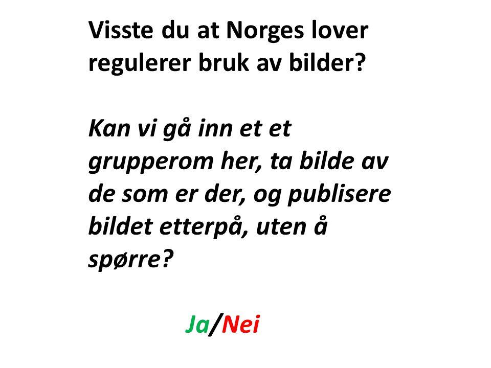 Visste du at Norges lover regulerer bruk av bilder? Kan vi gå inn et et grupperom her, ta bilde av de som er der, og publisere bildet etterpå, uten å