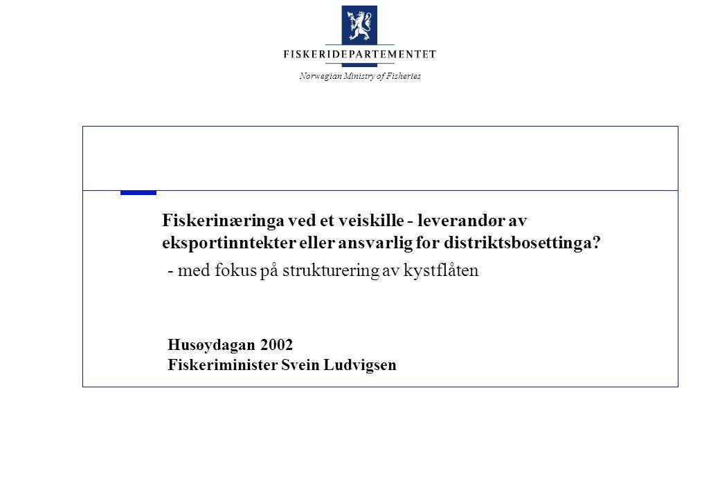 Norwegian Ministry of Fisheries Fiskerinæringa ved et veiskille - leverandør av eksportinntekter eller ansvarlig for distriktsbosettinga? - med fokus
