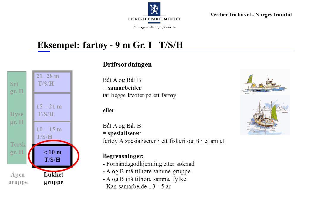 Norwegian Ministry of Fisheries Verdier fra havet - Norges framtid Eksempel: fartøy - 9 m Gr. I T/S/H 21- 28 m T/S/H 15 – 21 m T/S/H 10 – 15 m T/S/H <
