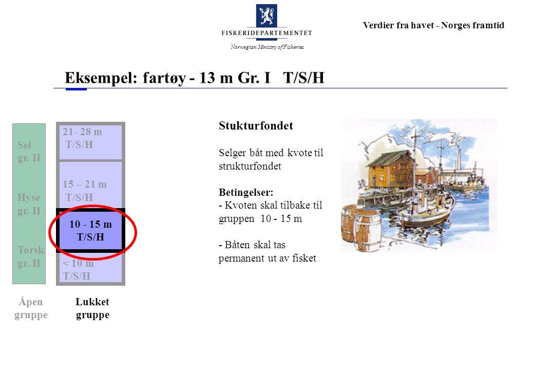Norwegian Ministry of Fisheries Verdier fra havet - Norges framtid Eksempel: fartøy - 13 m Gr. I T/S/H 21- 28 m T/S/H 15 – 21 m T/S/H 10 – 15 m T/S/H