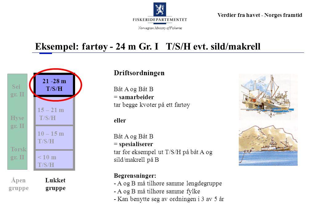 Norwegian Ministry of Fisheries Verdier fra havet - Norges framtid Eksempel: fartøy - 24 m Gr. I T/S/H evt. sild/makrell 21- 28 m Torsk 15 – 21 m T/S/