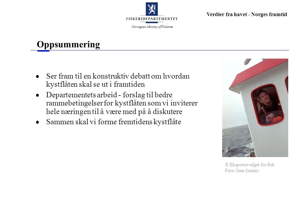 Norwegian Ministry of Fisheries Verdier fra havet - Norges framtid Oppsummering  Ser fram til en konstruktiv debatt om hvordan kystflåten skal se ut i framtiden  Departementets arbeid - forslag til bedre rammebetingelser for kystflåten som vi inviterer hele næringen til å være med på å diskutere  Sammen skal vi forme fremtidens kystflåte © Eksportutvalget for fisk Foto: Jean Gaumy