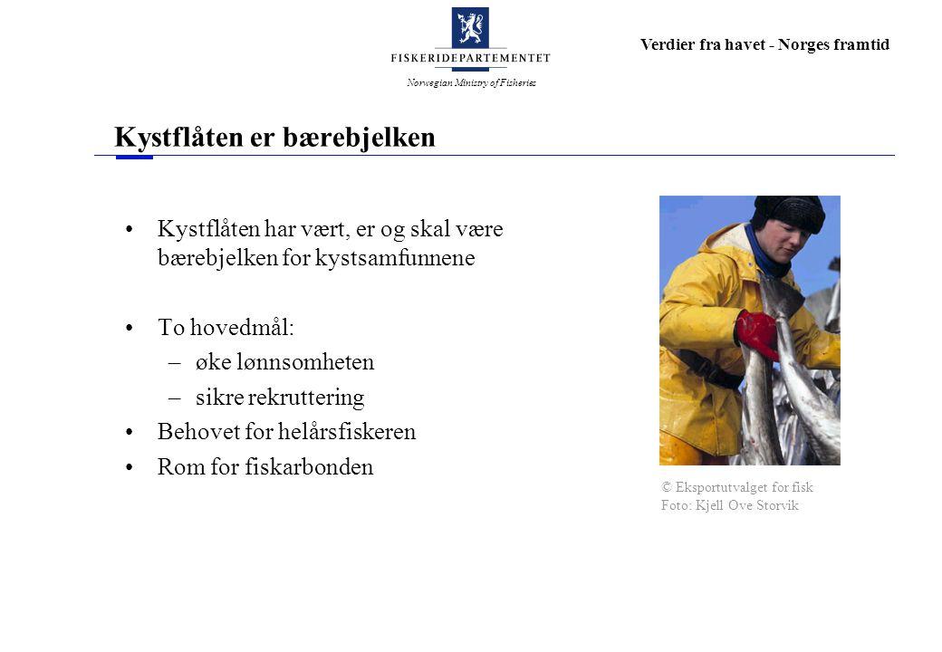 Norwegian Ministry of Fisheries Verdier fra havet - Norges framtid Antall fiskere og fiskefartøy 1950 - 98 000 fiskere og 33 500 fiskefartøy I 1990 antallet redusert til 27 500 fiskere og 17 400 fiskefartøy © Eksportutvalget for fisk Foto: Kjell Ove Storvik
