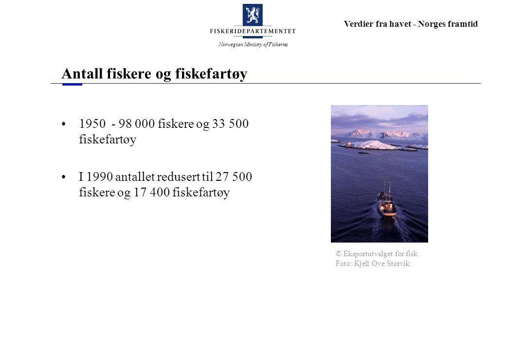 Norwegian Ministry of Fisheries Verdier fra havet - Norges framtid Antall fiskere og fiskefartøy 1950 - 98 000 fiskere og 33 500 fiskefartøy I 1990 an