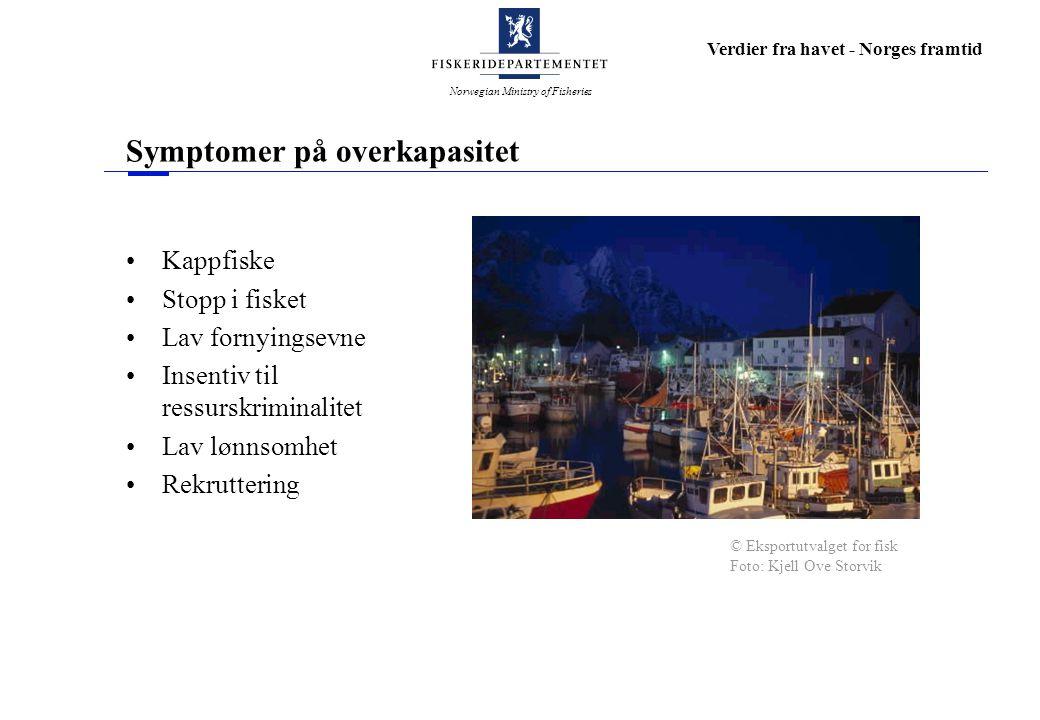 Norwegian Ministry of Fisheries Verdier fra havet - Norges framtid Symptomer på overkapasitet Kappfiske Stopp i fisket Lav fornyingsevne Insentiv til