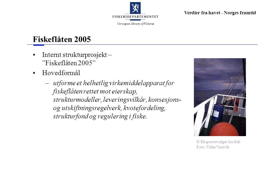 Norwegian Ministry of Fisheries Verdier fra havet - Norges framtid Fiskeflåten 2005 Internt strukturprosjekt – Fiskeflåten 2005 Hovedformål –utforme et helhetlig virkemiddelapparat for fiskeflåten rettet mot eierskap, strukturmodeller, leveringsvilkår, konsesjons- og utskiftningsregelverk, kvotefordeling, strukturfond og regulering i fiske.