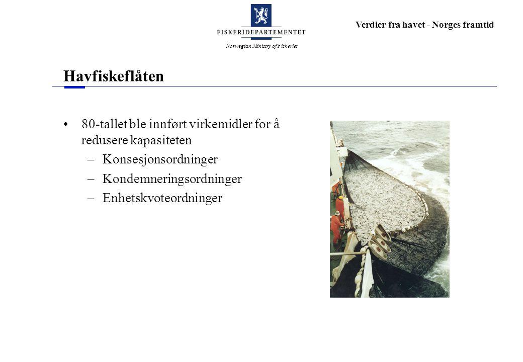 Norwegian Ministry of Fisheries Verdier fra havet - Norges framtid Havfiskeflåten 80-tallet ble innført virkemidler for å redusere kapasiteten –Konsesjonsordninger –Kondemneringsordninger –Enhetskvoteordninger