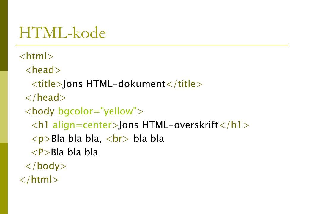 HTML-kode Jons HTML-dokument Jons HTML-overskrift Bla bla bla, bla bla Bla bla bla