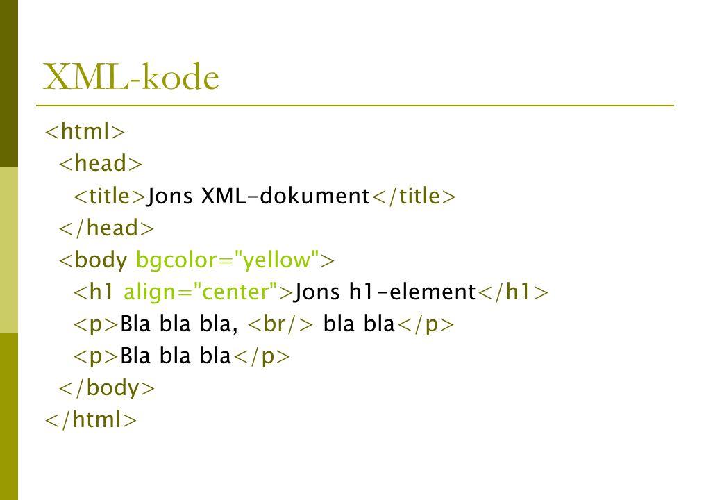 XML-kode Jons XML-dokument Jons h1-element Bla bla bla, bla bla Bla bla bla