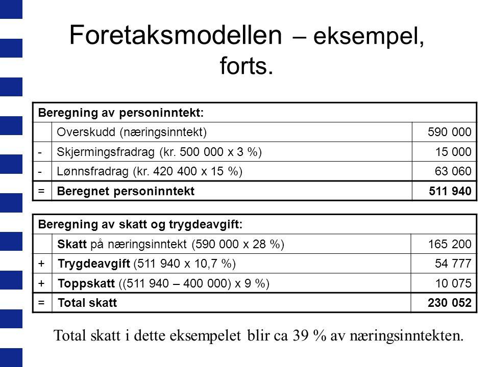 Foretaksmodellen – eksempel, forts.