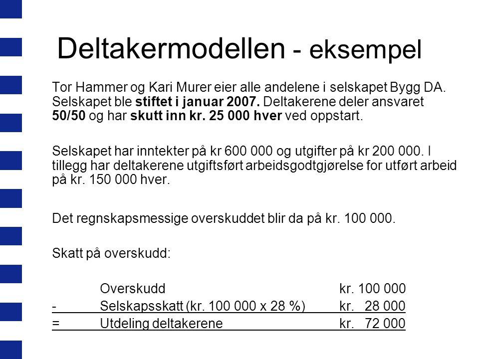 Deltakermodellen - eksempel Tor Hammer og Kari Murer eier alle andelene i selskapet Bygg DA.