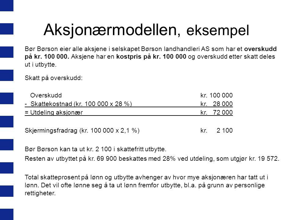 Aksjonærmodellen, eksempel Bør Børson eier alle aksjene i selskapet Børson landhandleri AS som har et overskudd på kr.