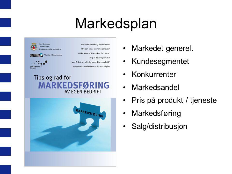 Markedsplan Markedet generelt Kundesegmentet Konkurrenter Markedsandel Pris på produkt / tjeneste Markedsføring Salg/distribusjon